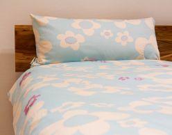 Bettwäsche Blume, blau